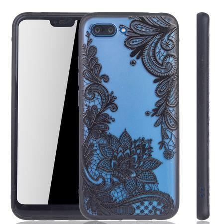 Handy Hülle Mandala für Huawei Honor 10 Design Case Schutzhülle Motiv Blüte Cover Tasche Bumper Schwarz