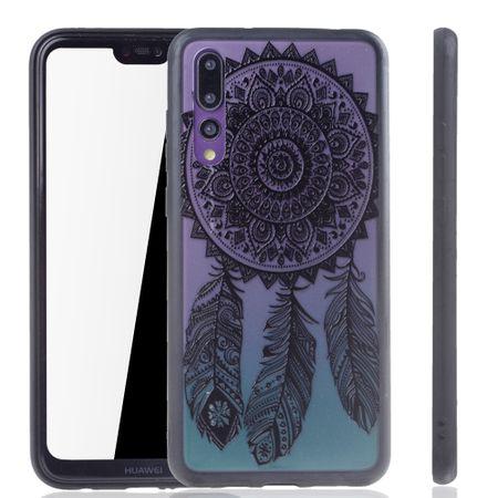 Handy Hülle Mandala für Huawei P20 Pro Design Case Schutzhülle Motiv Traumfänger Cover Tasche Bumper Schwarz