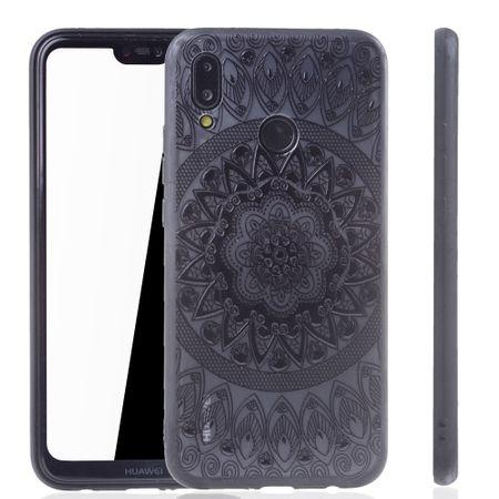Handy Hülle Mandala für Huawei P20 Lite Design Case Schutzhülle Motiv Kreis Cover Tasche Bumper Schwarz