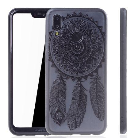 Handy Hülle Mandala für Huawei P20 Lite Design Case Schutzhülle Motiv Traumfänger Cover Tasche Bumper Schwarz