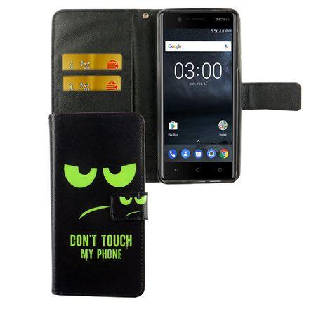 Handyhülle Tasche für Handy Nokia 3.1 2018 Dont Touch My Phone Grün