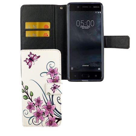 Handyhülle Tasche für Handy Nokia 5.1 2018 Lotusblume
