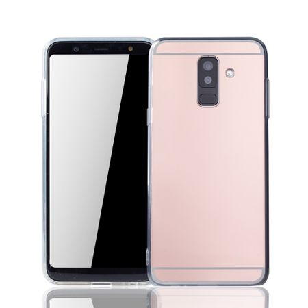 Samsung Galaxy A6 Plus 2018 Handy-Hülle Spiegel Mirror Soft-Case Schutz-Cover Rose Gold