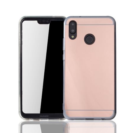 Huawei P20 Lite Handy-Hülle Spiegel Mirror Soft-Case Schutz-Cover Rose Gold