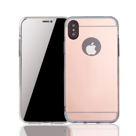 Apple iPhone X Handy-Hülle Spiegel Mirror Soft-Case Schutz-Cover Rose Gold
