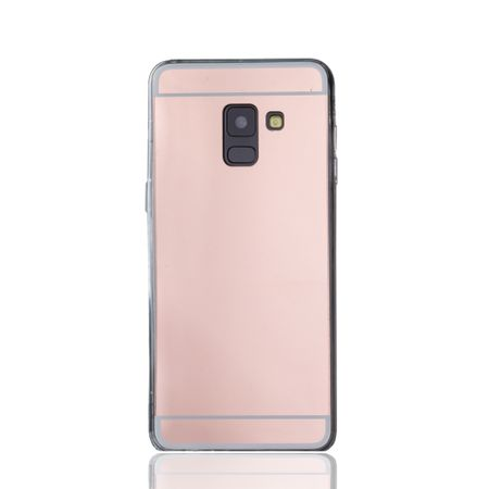 Samsung Galaxy A8 2018 Handy-Hülle Spiegel Mirror Soft-Case Schutz-Cover Rose Gold – Bild 2