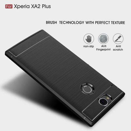 Sony XA2 Plus TPU Case Carbon Fiber Optik Brushed Schutz Hülle Blau – Bild 5