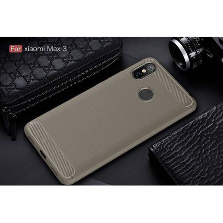 Xiaomi Mi Max 3 TPU Case Carbon Fiber Optik Brushed Schutz Hülle Grau – Bild 2