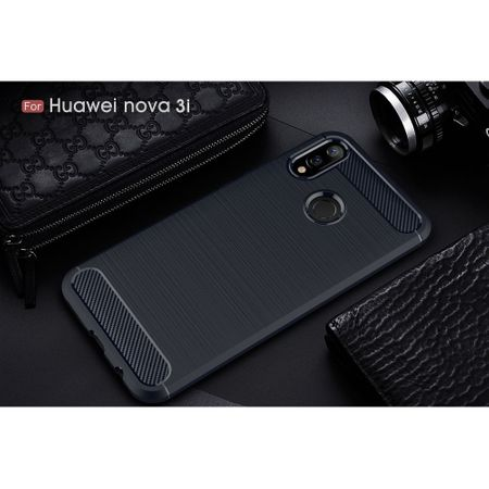 Huawei Nova 3i TPU Case Carbon Fiber Optik Brushed Schutz Hülle Blau – Bild 2