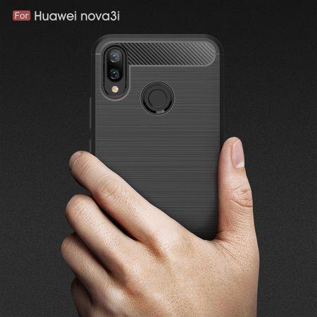 Huawei Nova 3i TPU Case Carbon Fiber Optik Brushed Schutz Hülle Blau – Bild 8