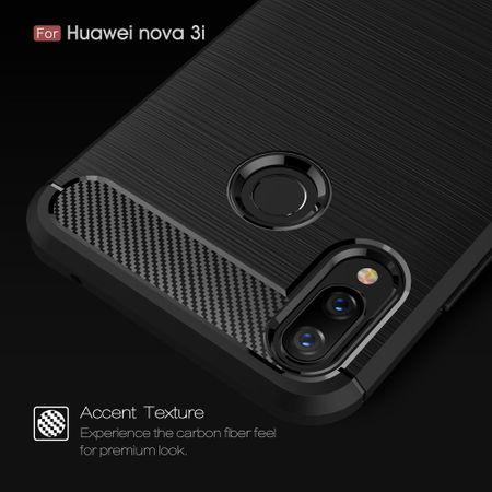 Huawei Nova 3i TPU Case Carbon Fiber Optik Brushed Schutz Hülle Grau – Bild 6
