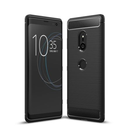 Sony Xperia XZ3 TPU Case Carbon Fiber Optik Brushed Schutz Hülle Schwarz