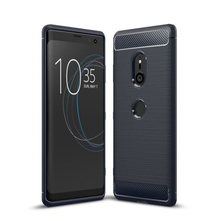 Sony Xperia XZ3 TPU Case Carbon Fiber Optik Brushed Schutz Hülle Blau