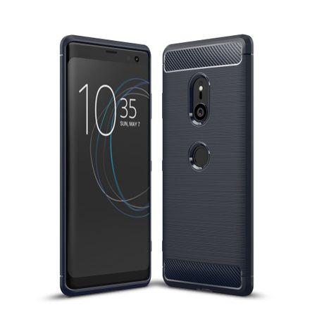 Sony Xperia XZ3 TPU Case Carbon Fiber Optik Brushed Schutz Hülle Blau – Bild 1