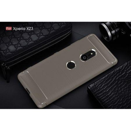 Sony Xperia XZ3 TPU Case Carbon Fiber Optik Brushed Schutz Hülle Grau – Bild 2