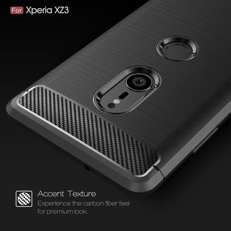 Sony Xperia XZ3 TPU Case Carbon Fiber Optik Brushed Schutz Hülle Grau – Bild 5