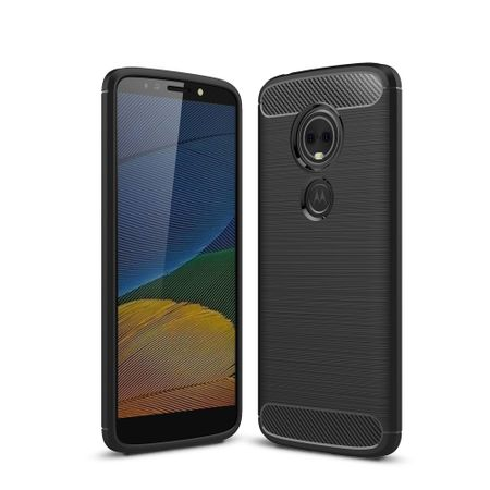 Motorola Moto G6 Play TPU Case Carbon Fiber Optik Brushed Schutz Hülle Schwarz