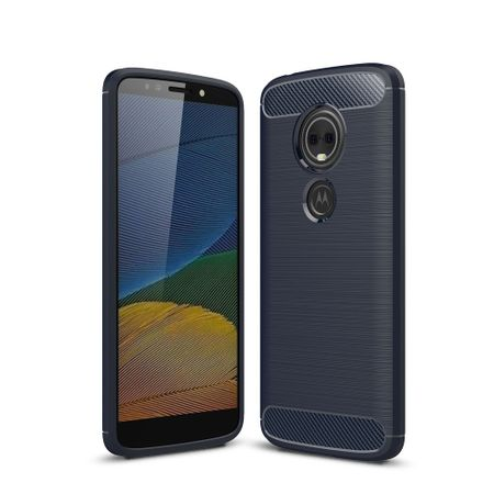 Motorola Moto G6 Play TPU Case Carbon Fiber Optik Brushed Schutz Hülle Blau