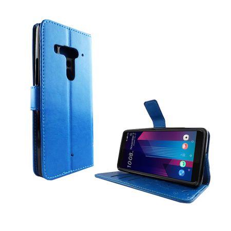 HTC U12+ Plus Handy-Hülle Schutz-Tasche Cover Flip-Case Kartenfach Blau – Bild 2