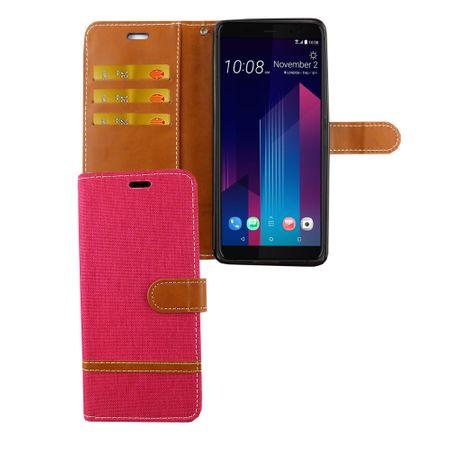 HTC U12+ Plus Handy-Hülle Schutz-Tasche Case Cover Kartenfach Etuis Wallet Pink