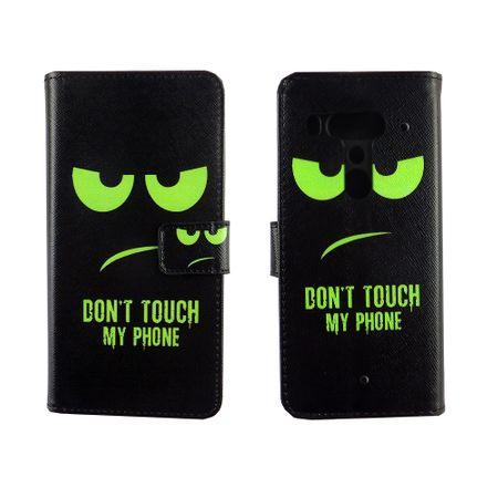 HTC U12+ Plus Tasche Handy-Hülle Schutz-Cover Flip-Case mit Kartenfach  Don't touch my phone – Bild 6
