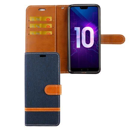 Huawei Honor 10 Handy-Hülle Schutz-Tasche Case Cover Kartenfach Etui Wallet Blau