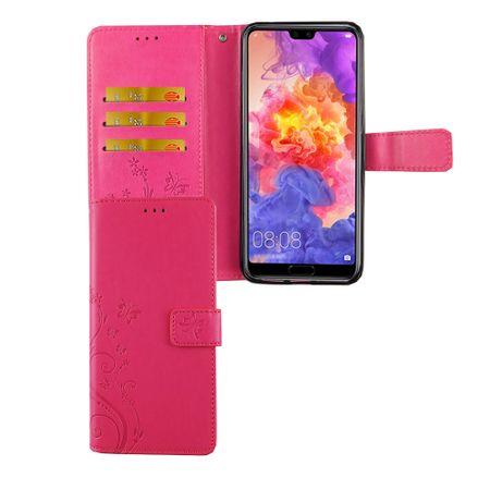 Huawei P20 Pro Handy-Hülle Schutz-Tasche Cover Flip-Case Kartenfach Pink