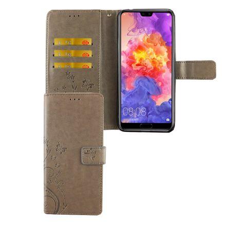 Huawei P20 Pro Handy-Hülle Schutz-Tasche Cover Flip-Case Kartenfach Grau
