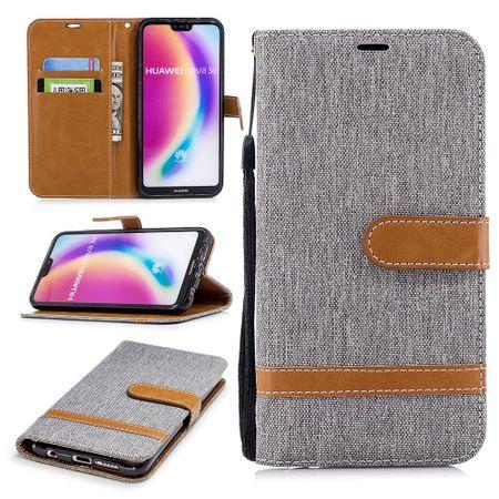 Huawei P20 Lite Handy-Hülle Schutz-Tasche Case Cover Kartenfach Etui Wallet Grau