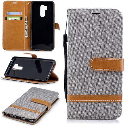 LG G7 Handy-Hülle Schutz-Tasche Case Cover Kartenfach Etuis Book-Style Grau