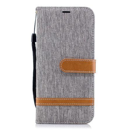 LG G7 Handy-Hülle Schutz-Tasche Case Cover Kartenfach Etuis Book-Style Grau – Bild 6