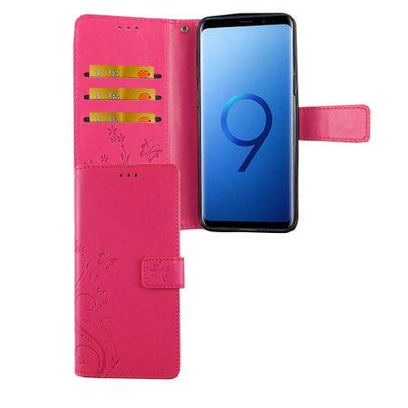Samsung Galaxy S9 Handy-Hülle Schutz-Tasche Cover Flip-Case Kartenfach Pink