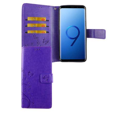 Samsung Galaxy S9 Handy-Hülle Schutz-Tasche Cover Flip-Case Kartenfach Violett