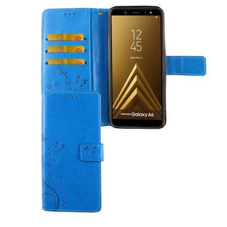 Samsung Galaxy A6 2018 Handy-Hülle Schutz-Tasche Cover Flip-Case Kartenfach Blau
