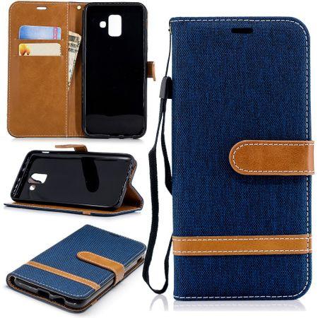 Samsung Galaxy A6 2018 Handy-Hülle Schutz-Tasche Case Cover Kartenfach Etui Blau