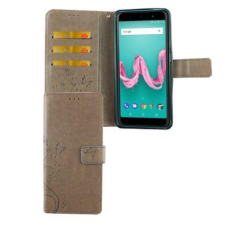 Wiko Lenny 5 Handy-Hülle Schutz-Tasche Cover Flip-Case Kartenfach Grau