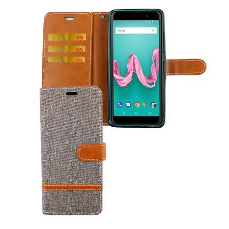 Wiko Lenny 5 Handy-Hülle Schutz-Tasche Case Cover Kartenfach Etuis Wallet Grau