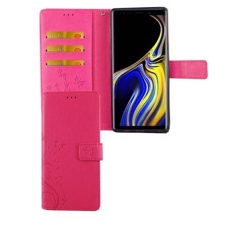 Samsung Galaxy Note 9 Handy-Hülle Schutz-Tasche Cover Flip-Case Kartenfach Pink