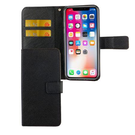 Apple iPhone XS Tasche Handy-Hülle Schutz-Cover Flip-Case mit Kartenfach  Schwarz