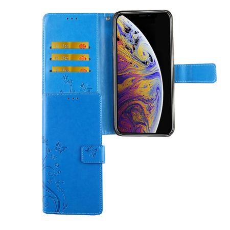Apple iPhone XS Max Handy-Hülle Schutz-Tasche Cover Flip-Case Kartenfach Blau