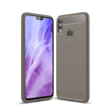 Huawei Honor 8X TPU Case Carbon Fiber Optik Brushed Schutz Hülle Grau