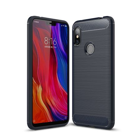 Xiaomi Redmi Note 6 TPU Case Carbon Fiber Optik Brushed Schutz Hülle Blau