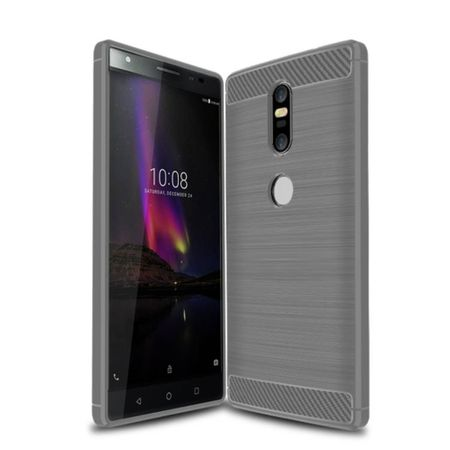 Lenovo Phab2 Plus TPU Case Carbon Fiber Optik Brushed Schutz Hülle Grau