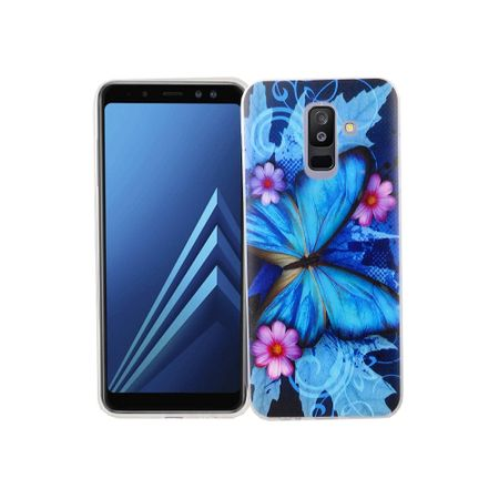 Samsung Galaxy A6 Plus 2018 Handy-Hülle Schutz-Case Cover Bumper Schmetterling Blau