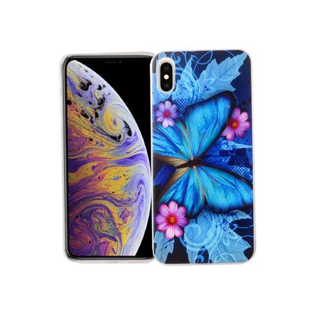 Apple iPhone XS Max Handy-Hülle Schutz-Case Cover Bumper Schmetterling Blau