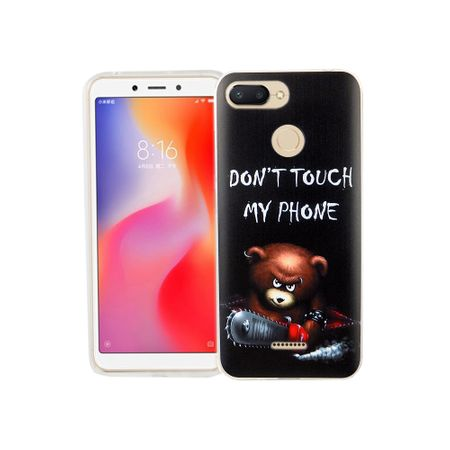 Xiaomi Redmi 6A Handy-Hülle Schutz-Case Cover Bumper Dont Touch My Phone Bär