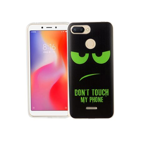 Xiaomi Redmi 6A Handy-Hülle Schutz-Case Cover Bumper Dont Touch My Phone Grün