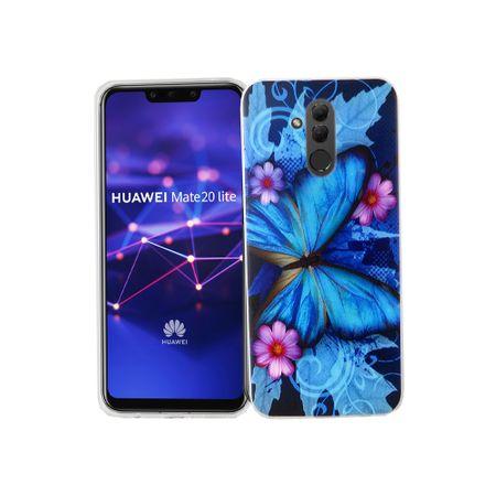 Huawei Mate 20 Lite Handy-Hülle Schutz-Case Cover Bumper Schmetterling Blau