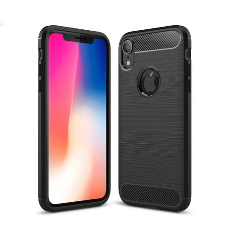 Apple iPhone XR TPU Case Carbon Fiber Optik Brushed Schutz Hülle Schwarz