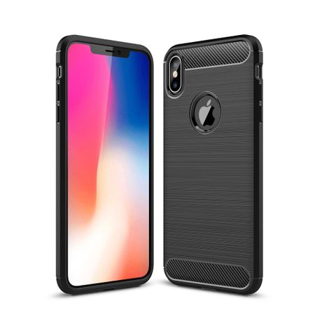 Apple iPhone XS Max TPU Case Carbon Fiber Optik Brushed Schutz Hülle Schwarz